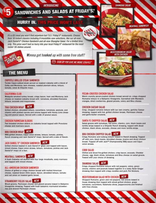 Tgi fridays menu with prices