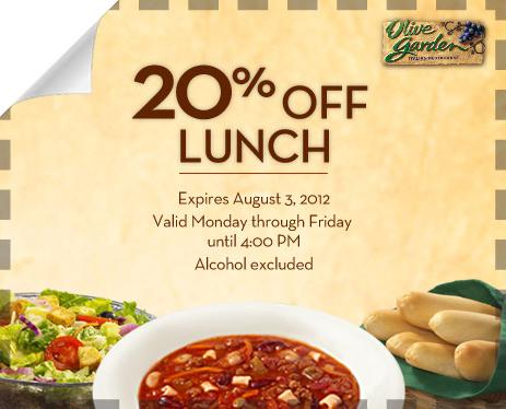 Olive Garden 20 Off Through August 3rd Restaurant Deals And Eating Deals