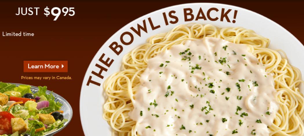 Olive Garden Never Ending Pasta Bowl For 10 Restaurant Deals And Eating Deals